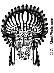 Native American Indian Chief Mascot with Headdress Graphic
