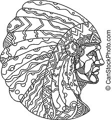 native-american-indian-chief-side-DOODLE - Doodle art...