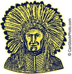 Native American Indian Chief Warrior Etching