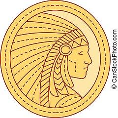 Native American Indian Chief Warrior Mono Line