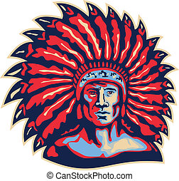 Illustration of a native american indian chief viewed from front done in retro style on isolated white background.
