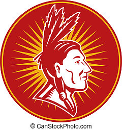 native American indian chief with three feathers side view
