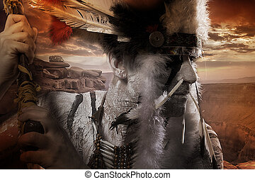 Native american indian chiet at sunset