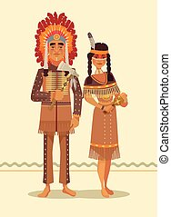 Native american indian couple. Man and woman characters. Vector flat cartoon illustration