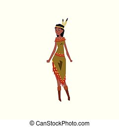 Native American Indian girl character in traditional indian dress holding vector Illustration on a white background
