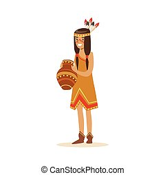 Native american indian girl in traditional indian dress...