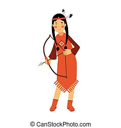 Native american indian girl in traditional costume archery with a bow vector Illustration