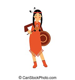 Native american indian girl in traditional costume playing on a tambourine vector Illustration