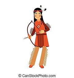 Native american indian girl in traditional costume posing with a bow vector Illustration