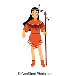 Native american indian girl in traditional costume posing with spear vector Illustration