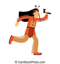Native american indian girl in traditional costume rinning with tomahawk vector Illustration