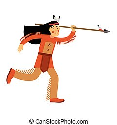Native american indian girl in traditional costume running with spear vector Illustration