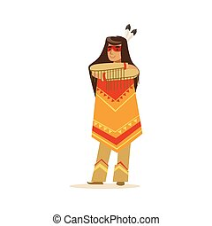 Native american indian girl in traditional indian clothing standing with folded arms vector Illustration