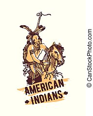 Native american indian hand drawn vector illustration isolated on white background