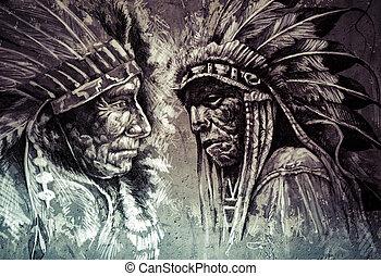 Native american indian head, chief, retro style
