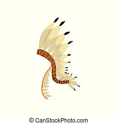 Native American indian headdress with feathers vector Illustration on a white background