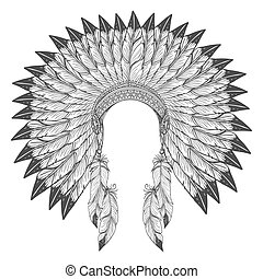 Native american indian headdress with feathers. Vector war...
