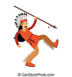 Native american indian in traditional costume and headgear running with spear vector Illustration