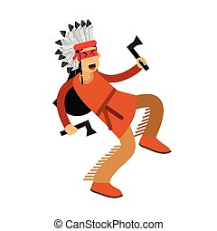 Native american indian in traditional costume dancing with two tomahawks vector Illustration