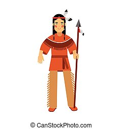 Native american indian in traditional costume standing with spear vector Illustration