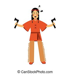 Native american indian in traditional costume standing with two tomahawks vector Illustration