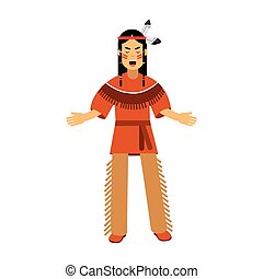 Native american indian in traditional costume vector...