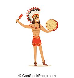 Native american indian in traditional in loincloth playing tambourine vector Illustration