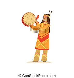 Native american indian in traditional indian clothing playing tambourine vector Illustration