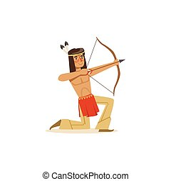 Native american indian kneeling and shooting a bow vector...