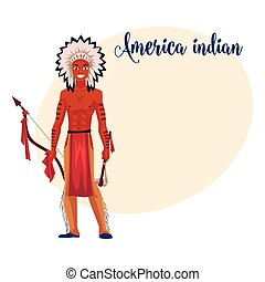 Native American Indian man in feather headdress, breechcloth, leather leggings