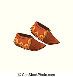Native American Indian moccasins vector Illustration on a white background