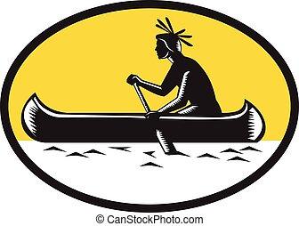 Native American Indian Paddling Canoe Woodcut - Illustration...