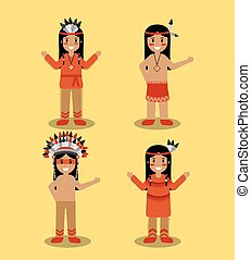 native american indian people with traditional costume