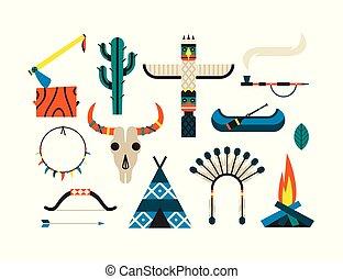 Native American Indian Set. Vector flat illustration, ethnic icon set