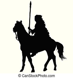 Native american indian silhouette riding a horse on white...