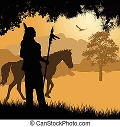 Native american indian silhouette with spear and horse