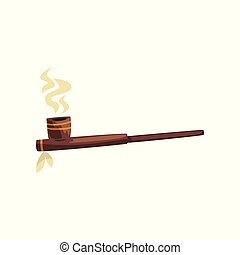 Native American indian smoking pipe vector Illustration on a white background