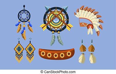 Native American Indian Symbols Set, Ethnic Design Elements, Dreamcatcher, Canoe, Headdress, Earrings Vector Illustration