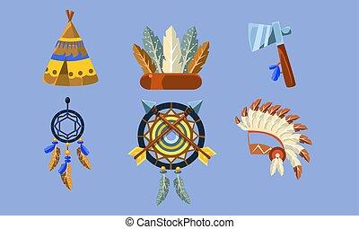 Native American Indian Symbols Set, Ethnic Design Elements,...