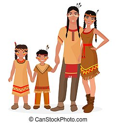 Native American Indian traditional family. American Indian man and woman. American Indian boy and girl kids. Apache people.