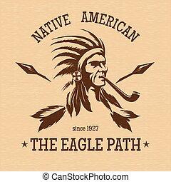 Native american indian vintage print