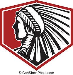 Native American Indian Warrior Side Retro