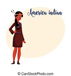 Native American Indian woman in traditional, national shirt buckskin dress