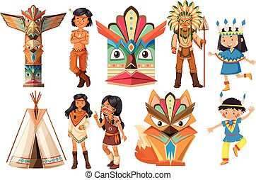 Native american indians and traditional items illustration