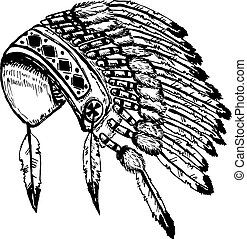 Native american indians chief headdress isolated on white backgr