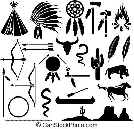 native american indians icons set (bow and arrow, snake, ...