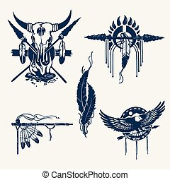 native american indians illustration set (bow and arrow,...