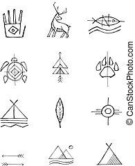 Native american ink symbols illustration