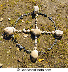 Native American Medicine Wheel or Sacred Hoop formed from...