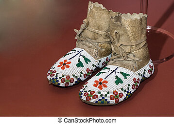 Native American Moccasins - A pair of Native American...